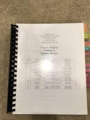 Seismic civil PE workbook for Sale in Anaheim, CA