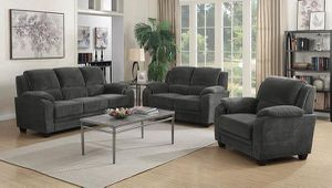 3PC LIVINGROOM SET: SOFA LOVE SEAT AND CHAIR--CHARCOAL for Sale in Stockton, CA