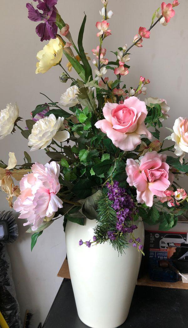 "Vase and flower, 36"" high."