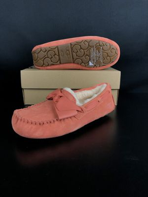 UGG AUSTRALIA Vibrant Coral Dakota Leather Bow Moccasin Slippers for Sale, used for sale  Anaheim, CA