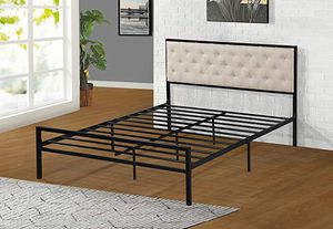 Full Metal Bed Frame, Beige for Sale in Santa Fe Springs, CA