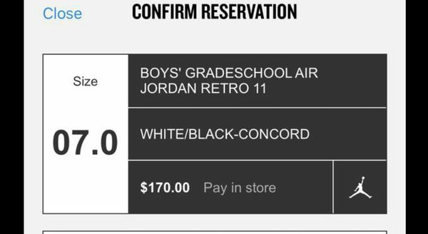 Size 7y BigKidsTICKET FOR CONCORD 11s Release 12/8/18