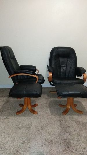 2 - Black Leather Gamer🎮Chairs w/ Ottomans for Sale in Stockton, CA