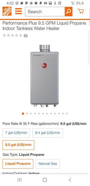 Rheem tankless LPG water heater 199,000 btu propane for Sale in Grafton, OH