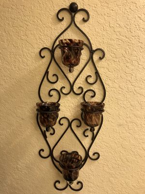 Wall Sconces w/Glass Candle Holders (missing one) - Brown for Sale in Orlando, FL