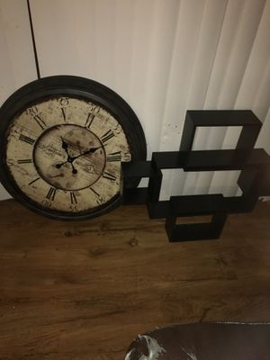 Antique Clock and wall frame shelf for Sale in Riverdale, GA