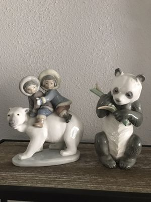 Lladro polar bear with eskimos zaphir panda bear collectible figurines for Sale in Anaheim, CA