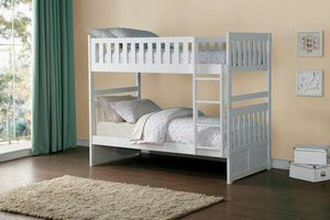 Galen White Twin/Twin Reversible Step Storage Bunk Bed | B2053 for Sale in Austin, TX