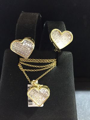 Diamond earrings and charm 14kt for Sale in New York, NY