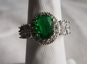 Emerald colored topaz and crystals ring, size 6 for Sale in Brewer, ME