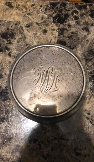 Antique glass container with sterling silver lid for Sale in Oak Park, MI