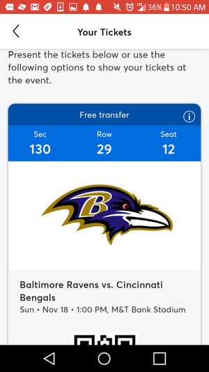 2 tickets to ravens game seat 13 and 14 for Sale in Baltimore, MD