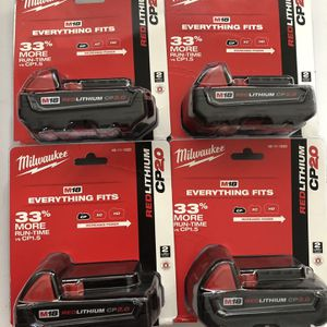 Milwaukee M18 18-Volt Lithium-Ion 2.0 Ah Compact Battery Each for Sale in Santa Ana, CA