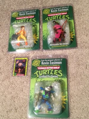 SIGNED TMNT Ninja Turtles Figures From Kevin Eastman's Collection for Sale in Stockton, CA