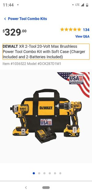 Dewalt 20V MAX XR Drill/Driver & Impact Driver Combo for Sale in Tacoma, WA
