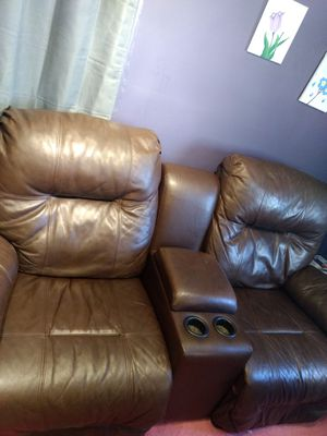 Brown leather couch for Sale in Bernard, IA