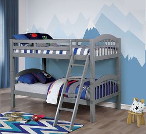 Gray twin /twin bunk bed with mattress on sale $399 for Sale in Fresno, CA