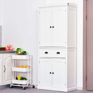 Traditional Colonial Standing Kitchen Pantry Cupboard Cabinet - White for Sale in Memphis, TN