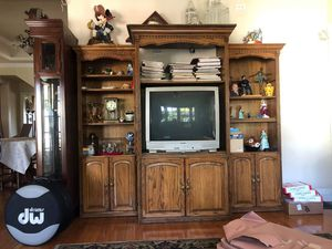 Oak Entertainment Center/Cabinet display dresser/Bookshelves for Sale in Whittier, CA