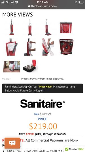 Sanitaire commercial vacuum for Sale in Boston, MA