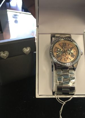 Brand new adexe watch diamond earrings set xmas gift for Sale in Orlando, FL
