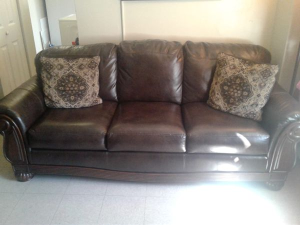 Brown faux leather sofa and chair for Sale in Boston, MA - OfferUp