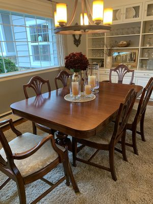 "8 piece vintage dining room set. Sideboard 21"" D, 62""L, 37""H. Table 42""W, 62""L with 3 12""W leafs. Upholstery needs cleaned or replaced. I did it mys for Sale in Snohomish, WA"