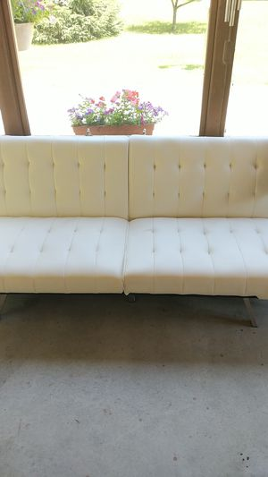 White leather futon - works just fine, cat scratches for Sale in Toledo, OH