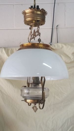 Antique Brass Hanging Oil Lamp with Milk Glass Shade- Electric for Sale in Brandon, FL