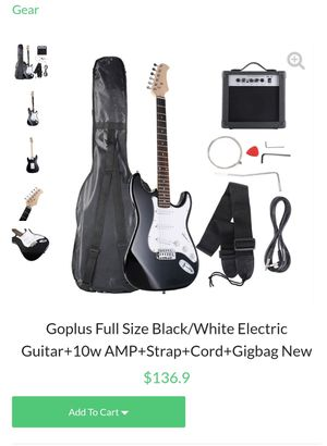 Full Size Black/White Electric Guitar+10w AMP+Strap+Cord+Gigbag New Retails 150 asking 100 please check other offers and follow for Sale in Downey, CA