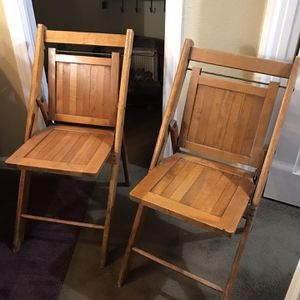 Two Sturdy antique folding chairs $45 for both for Sale in Santa Clarita, CA