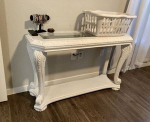 Beautiful console table, with glass top and bottom storage for Sale in Chandler, AZ