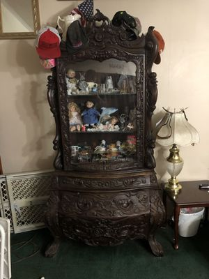 Antique Asian Hand Carved Display Cabinet with3 drawers on bottom for Sale in Gaston, SC