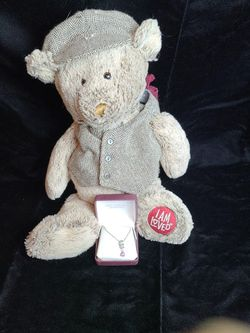 Silver Necklace with Pink Sapphire and Stuffed Bear for Sale in Milwaukie,  OR