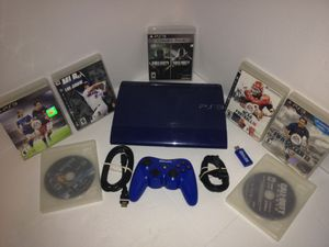 Blue PS3 Super Slim with 8 games bundle for Sale in Houston, TX