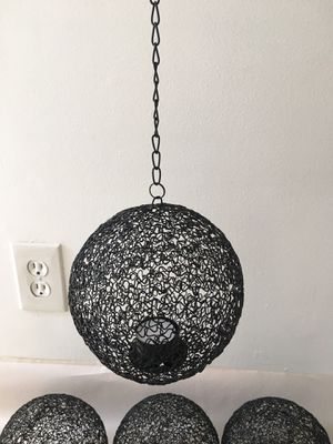 Black Wire Hanging Pendant Votive Tea Light Candle Holders - Set of 6 for Sale in Alhambra, CA