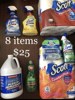 2 Scott: Toilet Paper & Paper Towel; 1 Palmolive Dish Soap, 3 Lysol: Bathroom Cleaner, All purpose Cleaner, Toilet Bowl Cleaner, 1 Scrubbing Bubble T for Sale in Monterey Park, CA