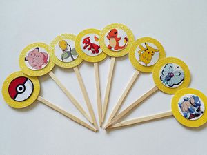 12 Pokemon Cupcake Toppers Pikachu Birthday Party Valentine for Sale, used for sale  Twentynine Palms, CA