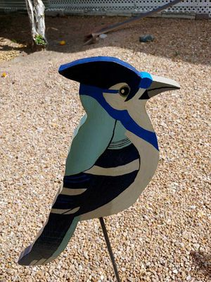 Homemade wooden Bluejay bird and post for Sale in Fort McDowell, AZ