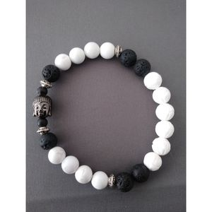 White Lotus Carving Shell Stone Buddha Prayer Beads Diffuser bracelet for Sale in Nashua, NH
