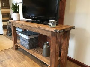 Rustic farmhouse tv stand/console table with industrial brackets for Sale in Detroit, MI