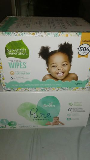 Pampers pure size 1 & seventh generation Vaule pack wipes for Sale in San Antonio, TX