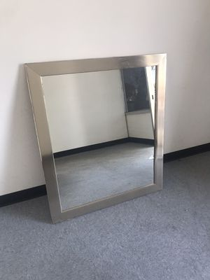 Jensen 42 x 36 Flat Framed Satin Nickel Wall Mirror for Sale in Placentia, CA