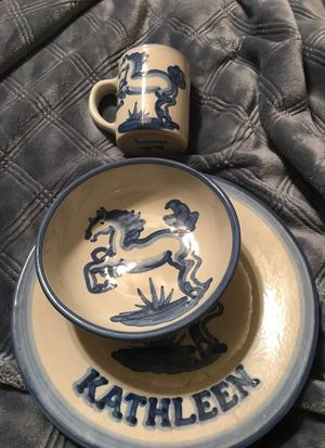 Personalized plate, cup & bowl for Sale in Moriarty, NM