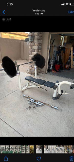 Olympic weights set barbell for Sale in Laveen Village, AZ