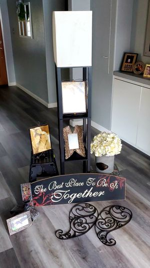 Lamp with shelves, sign, wall decor, pictures frames for sale for Sale in Stockton, CA