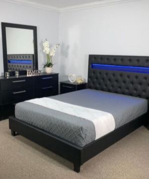 Brand new full leather tufted light bedroom set bed frame dresser mirror and 1 nightstand no mattress for Sale in Miami, FL