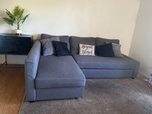 Grey sectional couch with storage and bed for Sale in Escondido, CA