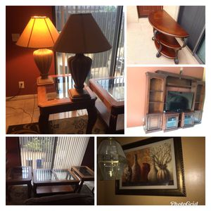 Coffee table, 2 end tables, one entry table, one wall unit, picture art and 2 lamps... ALL FOR $375 for Sale in Palm Springs, FL