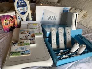 Wii console, Wii Games, Controllers, Nunchucks, Balance Board, Nerf Sports Pack for Sale in Abilene, TX